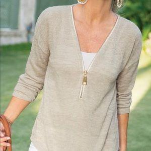 SOFT SURROUNDINGS Valentina Gold Zipper Sweater